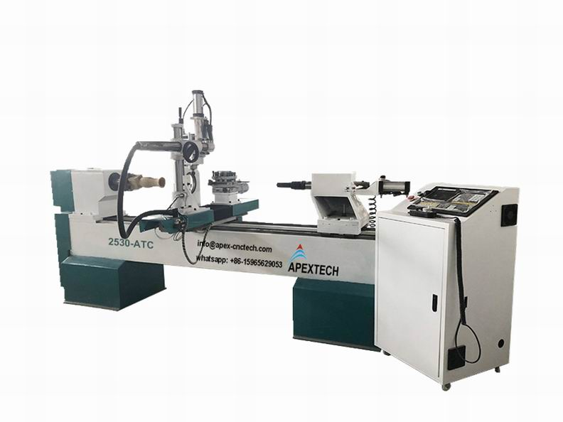 2530ATC-4 Axis CNC Wood Lathe for 3D Turning, Carving and Broaching